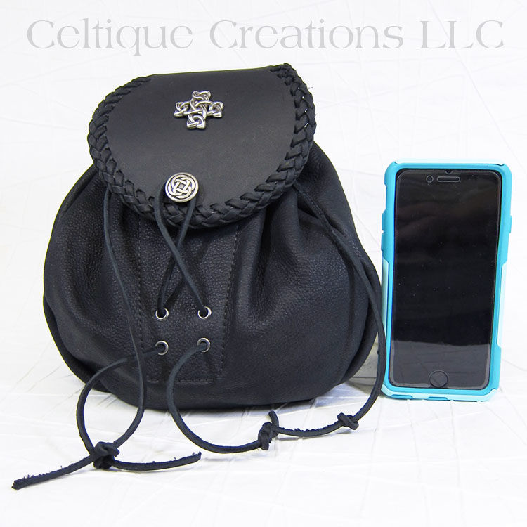 Handmade Black Leather Sporran Extra Large with Celtic Knot - product images  of