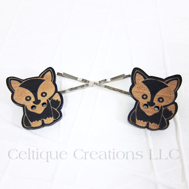 Cute Wood Fox Bobby Pins Handmade Hair Accessories - product images  of