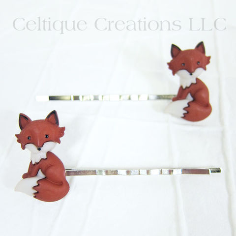 Sitting,Fox,Bobby,Pins,Handmade,Hair,Accessories, Bobby Pin, Hair Slide, Hair Accessories, Hair Accessory, Handmade, Woodland, Animal, Celtique Creations