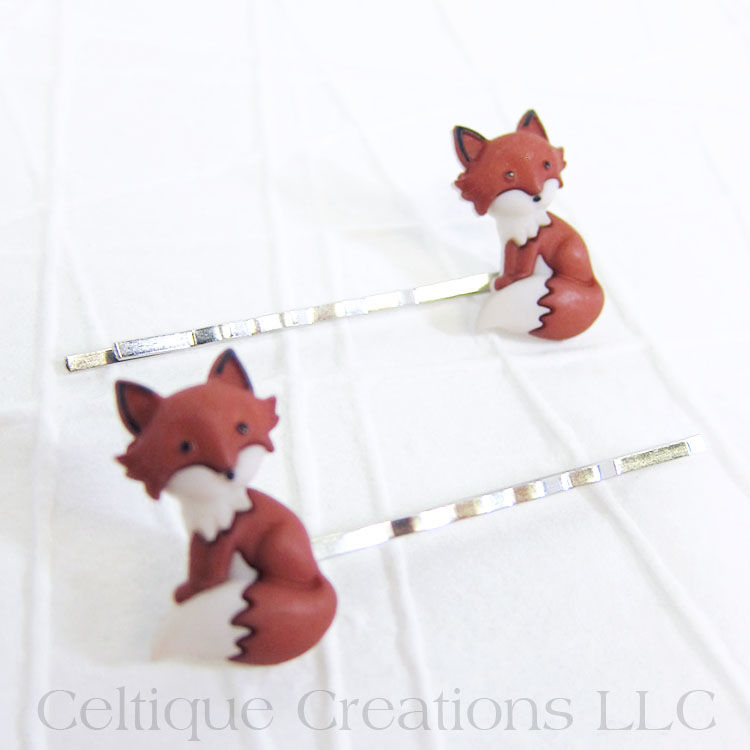 Sitting Fox Bobby Pins Handmade Hair Accessories - product images  of