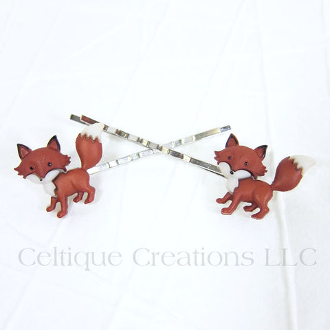 Standing,Fox,Bobby,Pins,Handmade,Hair,Accessories, Bobby Pin, Hair Slide, Hair Accessories, Hair Accessory, Handmade, Woodland, Animal, Celtique Creations