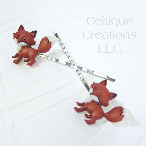 Standing Fox Bobby Pins Handmade Hair Accessories - product images  of