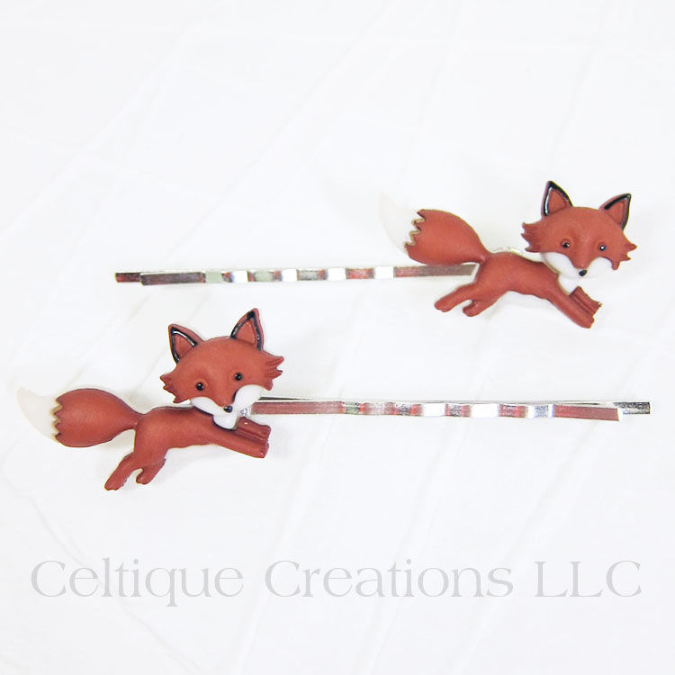 Running Fox Bobby Pins Handmade Hair Accessories - product images  of