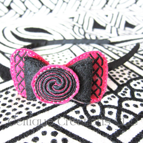 Celtic,Bow,Headband,Handmade,Pink,and,Black,Celtic Bow, Celtic Bow Headband, Celtic Headband, Headband, Knot, Knowork, Handmade, Hair Accessories, Celtique Creations