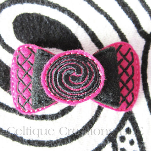 Celtic,Hair,Bow,Handmade,Barrette,Pink,and,Black,Celtic Bow, Celtic Hair Bow, Celtic Barrette, Handmade Celtic Bow, Handmade Celtic Barrette, Pink and Black Hair Bow, Celtique Creations