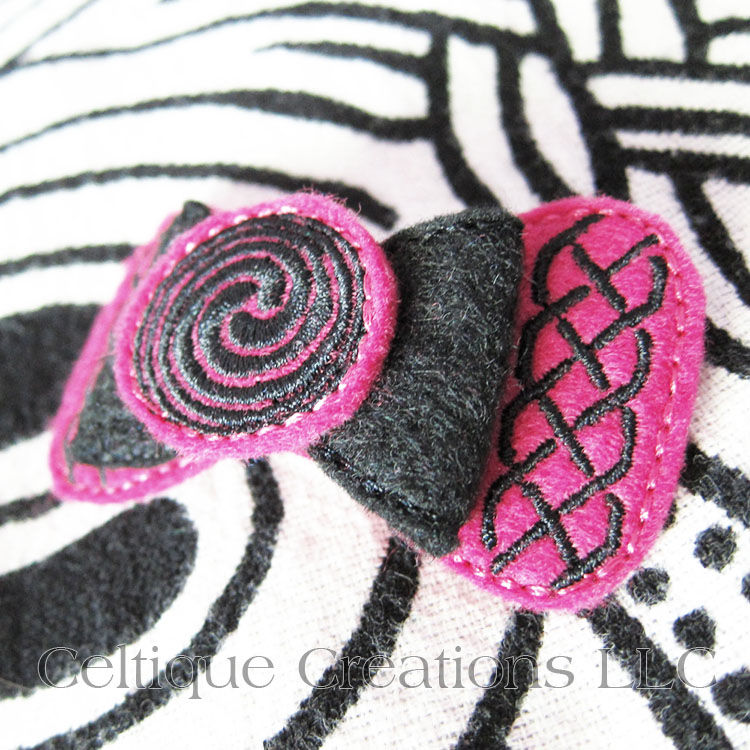 Celtic Hair Bow Handmade Barrette Pink and Black - product images  of