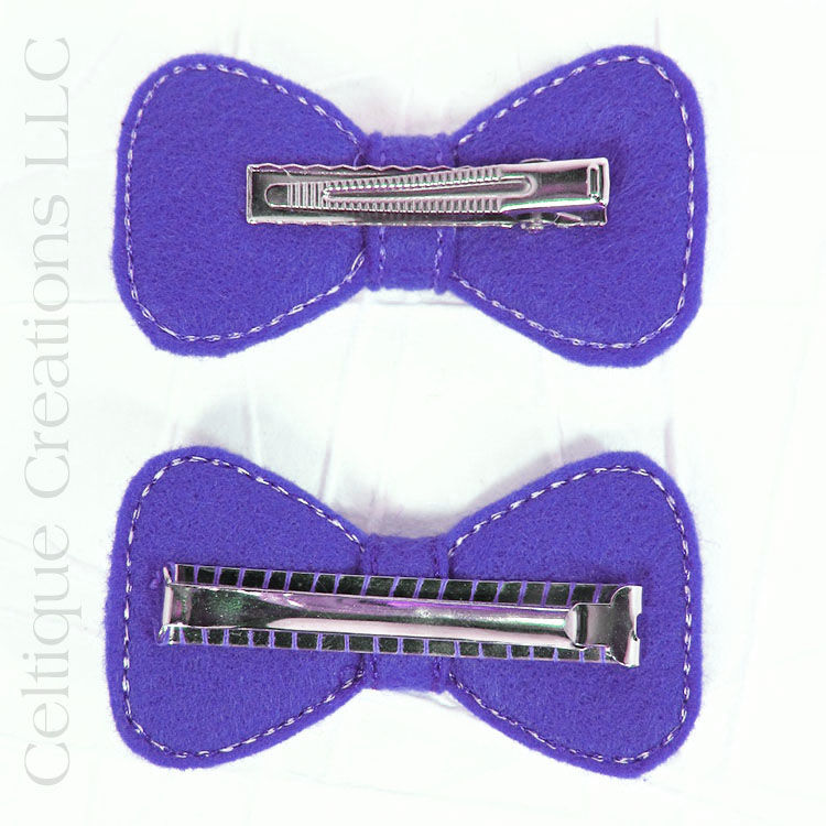 Celtic Hair Bow Handmade Barrette Purple and Black - product images  of