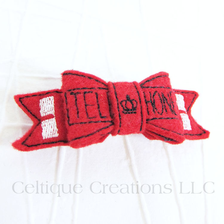 UK Telephone Booth Bow Handmade Barrette - product images  of