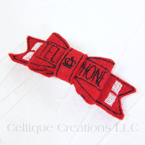 UK,Telephone,Booth,Bow,Handmade,Barrette, Telephone Booth, Red Telephone Box, Telephone, Hair Bow, Bow, Barrette, Alligator Clip, Handmade, Hair Accessory, Celtique Creations