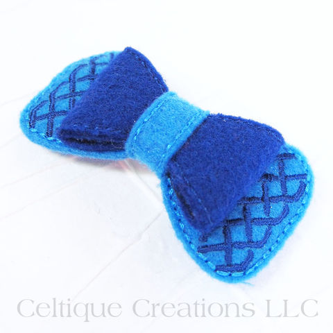 Celtic Hair Bow Two Tone Blue Handmade Hair Accessory - product images  of
