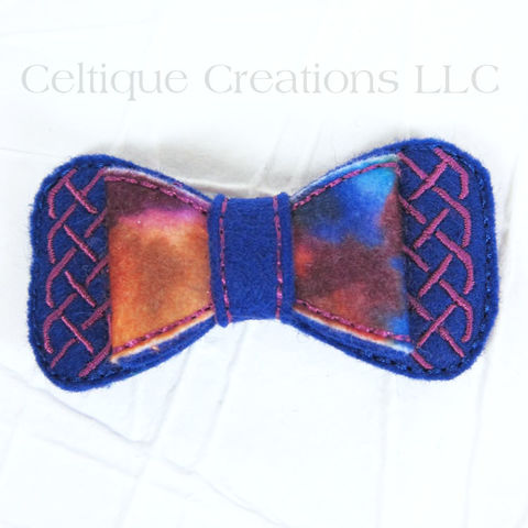 Blue Tie Dye Celtic Bow Handmade Hair Accessory - product images  of