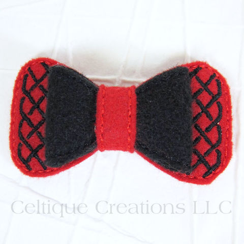 Celtic Hair Bow Handmade Barrette Red and Black - product images  of