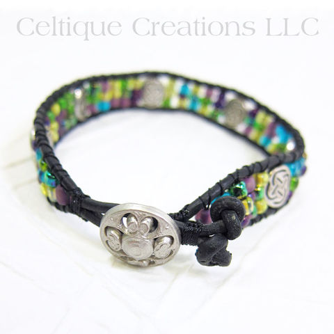 Beaded,Celtic,Handmade,Bracelet,Single,Wrap,Wrap Bracelet, Handmade Bracelet, Celtic Bracelet, Handmade Celtic Bracelet, Celtic Wrap Braclet, Celtic Knot, Celtic Jewelry, Single Wrap Bracelet, Battersea Shield, Beaded Bracelet, Jewel Tones, Mardi Gras