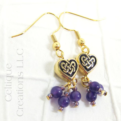 Celtic Heart Knot Gold Drop Earrings Purple - product images  of