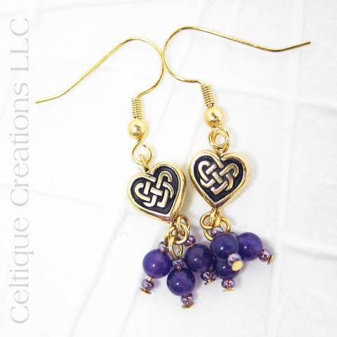 Celtic,Heart,Knot,Gold,Drop,Earrings,Purple,Celtic Gold Earrings, Heart Earrings, Handmade Celtic Earrings, Celtic Fashion Earrings, Celtic Heart Earrings, Gold and Purple, Celtique Creations