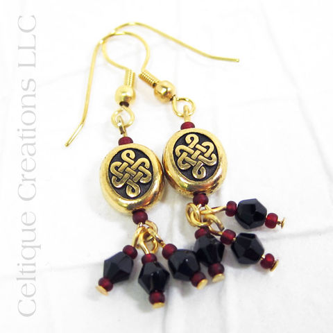 Double,Heart,Celtic,Knot,Handmade,Gold,Fashion,Earrings,Celtic Heart Earrings, Handmade Celtic Heart Earings, Celtic Knotwork, Celtic Earrings, Celtic Jewelry, Heart Earrings, Black and Red, Handmade Earrings, Gold Earrings, Fashion Earrings, Celtique Creations