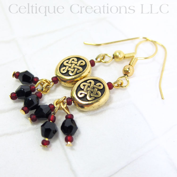 Double Heart Celtic Knot Handmade Gold Fashion Earrings - product images  of