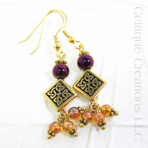 Celtic,Diamond,Knot,Gold,Fashion,Earrings,Handmade,Celtic Fashion Earrings, Celtic Fashion Jewelry, Handmade Celtic Earrings, Gold Celtic Earrings, Gold Celtic Jewelry, Celtic Knotwork, Gold, Magenta, Pink, Handmade Celtic Jewelry, Handmade Earrings, Celtique Creations