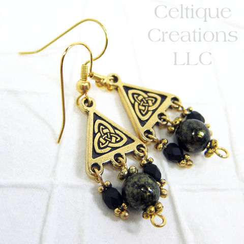 Double,Trinity,Knot,Handmade,Gold,Dangle,Fashion,Earrings,Trinity Knot Earrings, Celtic Trinity Knot Earrings, Celtic Fashion Earrings, Celtic Fashion Jewelry, Trinagle Earrings, Handmade Celtic Earrings, Handmade Celtic Jewelry, Handmade Trinity Earrings, Gold Celtic Earrings, Celtique Creations