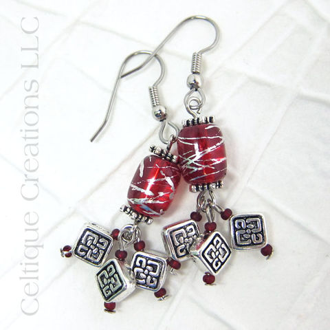 Red,and,Silver,Celtic,Knot,Cluster,Drop,Earrings,Cluster Earrings, Celtic Cluster Earrings, Handmade Celtic Earrings, Celtic Fashion Earrings, Handmade Earrings, Red and Silver, Pewter Earrings, Celtique Creations