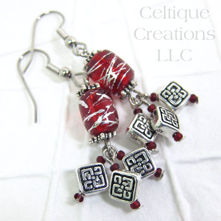 Red and Silver Celtic Knot Cluster Drop Earrings - product images  of