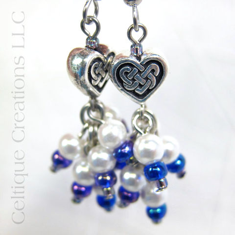 Celtic Heart Knot Faux Pearl Cluster Drop Earrings - product images  of
