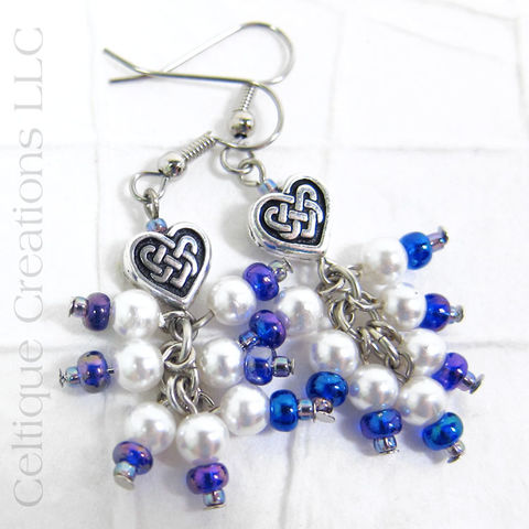 Celtic,Heart,Knot,Faux,Pearl,Cluster,Drop,Earrings,Celtic Pearl Earrings, Faux Pearl Earrings, Celtic Drop Earrings, Celtic Cluster Earrings, Handmade Celtic Earrings, Celtic Fashion Jewelry, Fashion Earrings, Handmade Celtic Drop Earrings, Celtique Creations, Blue and White