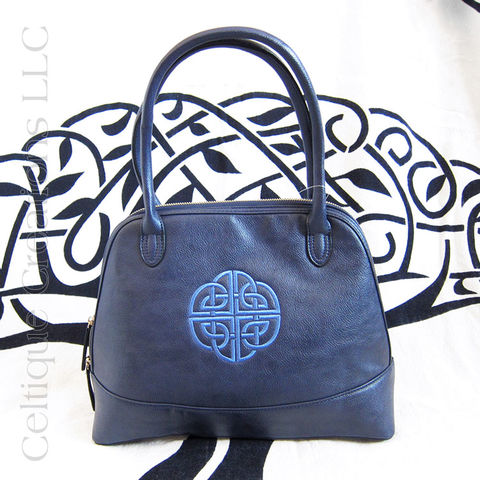 Celtic,Knot,Embroidered,Navy,Sydney,Viv,and,Lou,Handbag,Celtic Purse, Celtic Handbag, Embroidered Purse, Embroidered Handbag, Navy Purse, Vegan Leather Purse, Handbag, Celtic Knot Bag, Navy Handbag, Viv & Lou, Sydney Handbag, Celtique Creations