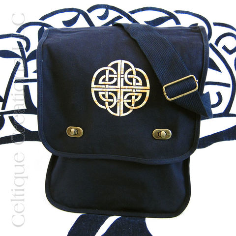 Black,Celtic,Knot,Embroidered,Field,Messenger,Bag,Black Celtic Messenger Bag, Black Celtic Field Bag, Black Celtic Bag, Cottong Canvas Messenger, Black Cotton Messenger, Celtic Knot Messenger Bag, Embroidered Messenger, Celtique Creations
