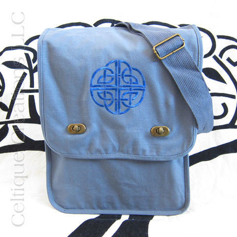 Blue,Celtic,Knotwork,Embroidered,Messenger,Bag,Celtic Messenger Bag, Celtic Field Bag, Celtic Cotton Bag, Messenger Bag, Embroidered Messenger Bag, Cotton Messenger Bag, Blue Messenger, Celtique Creations