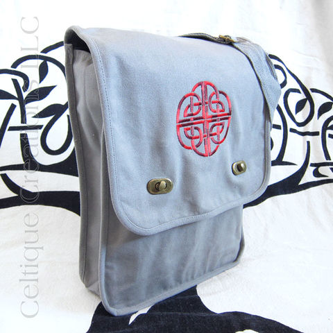 Gray,Celtic,Knot,Messenger,Bag,Red,Embroidery,Gray Celtic Messenger Bag, Gray Celtic Field Bag, Gray Celtic Bag, Cottong Canvas Messenger, Gray Cotton Messenger, Celtic Knot Messenger Bag, Embroidered Messenger, Celtique Creations