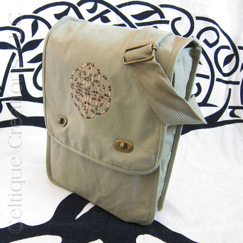 Celtic,Knotwork,Khaki,Messenger,Bag,Brown,Embroidery,Celtic Messenger Bag, Celtic Field Bag, Celtic Cotton Bag, Messenger Bag, Embroidered Messenger Bag, Cotton Messenger Bag, Khaki Messenger, Celtique Creations