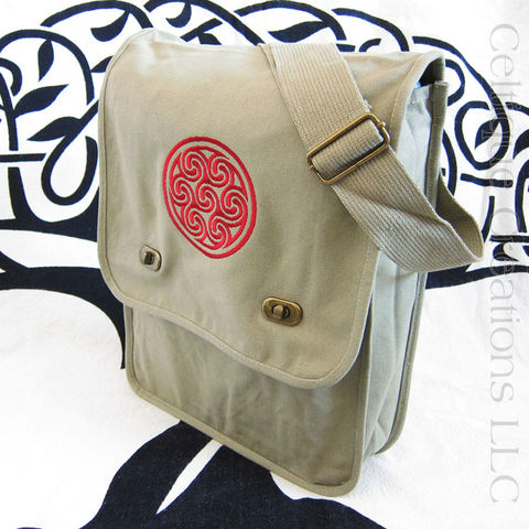 Triple,Triskele,Khaki,Messenger,Bag,Red,Embroidery,Triskele Messenger Bag, Triple Spiral Messenger Bag, Celtic Triskele Messenger Bag, Cotton Canvas Celtic Messenger, Triskele, Triple Spiral, Triskeleion, Cotton Canvas Messenger, Embroidered Messenger, Khaki, Red, Celtique Creations
