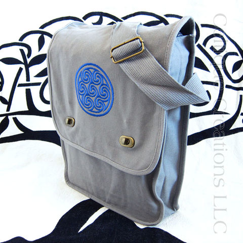 Triskele,Celtic,Gray,Messenger,Bag,Blue,Embroidery,Triskele Messenger Bag, Celtic Triskele Messenger Bag, Celtic Messenger, Celtic Cotton Canvas Messenger, Triskele, Triskelion, Triple Spiral, Vertical Messenger, Cotton Canvas, Emrboidery, Gray, Blue, Celtique Creations