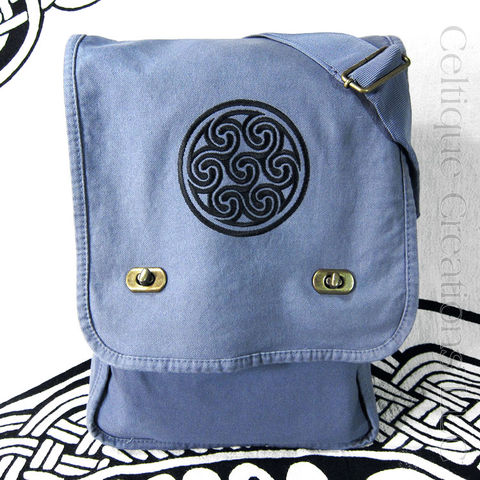 Celtic,Triskele,Cotton,Messenger,Bag,Black,Embroidery,Triskele Messenger Bag, Celtic Triskele Messenger Bag, Celtic Messenger, Celtic Cotton Canvas Messenger, Triskele, Triskelion, Triple Spiral, Vertical Messenger, Cotton Canvas, Emrboidery, Black, Blue, Celtique Creations