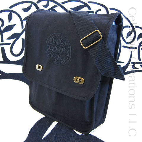 Black,on,Celtic,Triskele,Embroidered,Cotton,Messenger,Bag,Triskele Messenger Bag, Triple Spiral Messenger Bag, Celtic Triskele Messenger Bag, Cotton Canvas Celtic Messenger, Triskele, Triple Spiral, Triskeleion, Cotton Canvas Messenger, Embroidered Messenger, Black, Celtique Creations