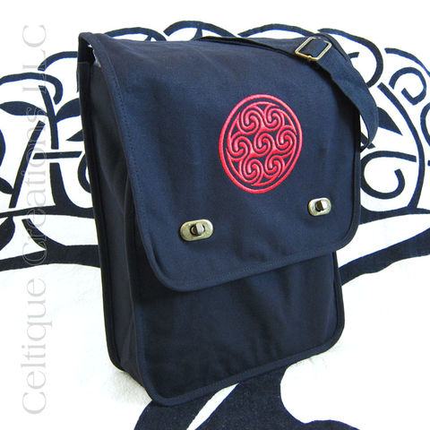 Black,and,Red,Celtic,Triskele,Cotton,Messenger,Bag,Triskele Messenger Bag, Triple Spiral Messenger Bag, Celtic Triskele Messenger Bag, Cotton Canvas Celtic Messenger, Triskele, Triple Spiral, Triskeleion, Cotton Canvas Messenger, Embroidered Messenger, Black, Red, Celtique Creations