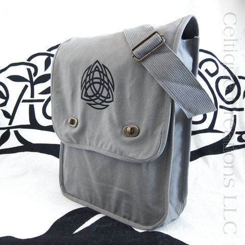 Celtic,Trinity,Knot,Gray,Cotton,Messenger,Bag,with,Black,Embroidery,Trinity Messenger Bag, Trinity Knotwork Bag, Celtic Trinity Knot Messenger Bag, Trinity Knot Cotton Canvas Bag, Trinity Knotwork Celtic Cotton Messenger Bag, Cotton Canvas Messenger Bag, Vertical Messenger Bag, Sophisticated Messenger, Embroidered Messeng