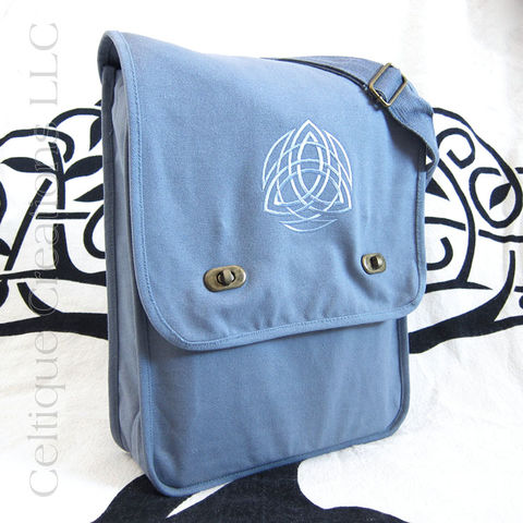 Trinity,Celtic,Knot,Blue,Tone,on,Embroidered,Messenger,Bag,Trinity Messenger Bag, Trinity Knotwork Bag, Celtic Trinity Knot Messenger Bag, Trinity Knot Cotton Canvas Bag, Trinity Knotwork Celtic Cotton Messenger Bag, Cotton Canvas Messenger Bag, Vertical Messenger Bag, Sophisticated Messenger, Embroidered Messeng