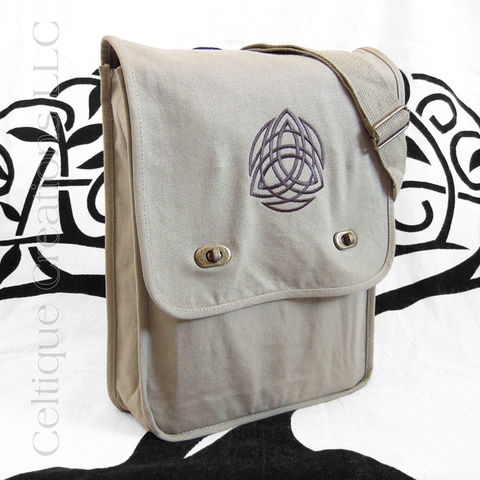 Khaki,Trinity,Knot,Messenger,Bag,Brown,Embroidery,Trinity Messenger Bag, Trinity Knotwork Bag, Celtic Trinity Knot Messenger Bag, Trinity Knot Cotton Canvas Bag, Trinity Knotwork Celtic Cotton Messenger Bag, Cotton Canvas Messenger Bag, Vertical Messenger Bag, Sophisticated Messenger, Embroidered Messeng