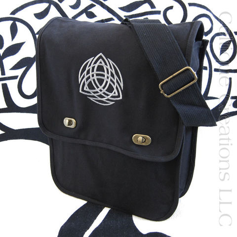 Celtic,Trinity,Knotwork,Messenger,Bag,Black,and,Gray,Trinity Messenger Bag, Trinity Knotwork Bag, Celtic Trinity Knot Messenger Bag, Trinity Knot Cotton Canvas Bag, Trinity Knotwork Celtic Cotton Messenger Bag, Cotton Canvas Messenger Bag, Vertical Messenger Bag, Sophisticated Messenger, Embroidered Messeng