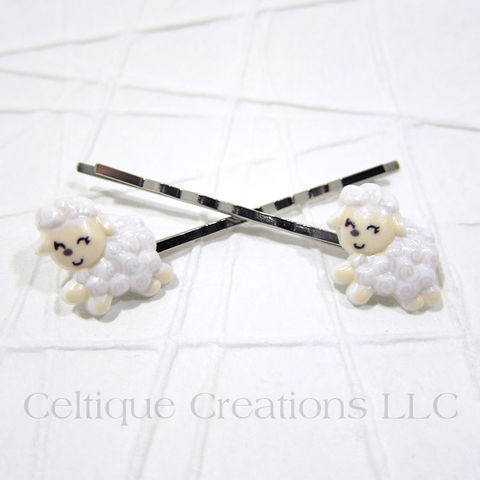 Sweet,Lamb,Handmade,Bobby,Pins,Lamb Bobby Pins, Sheep Bobby Pins, Sheep Hair Pins, Hair Pins, Bobby Pins, Hair Accessories, Handmade, Celtique Creations