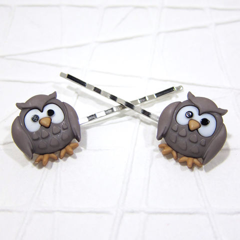 Large Cartoon Owl Bobby Pins Handmade - product images  of