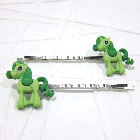 Unicorn,Magic,Pony,Green,Bobby,Pins,Handmade, Bobby Pin, Bobby Pins, Hair Accessories, Hair Slides, Handmade, Pony, Cute, Adorable, Magic Pony, Celtique Creations