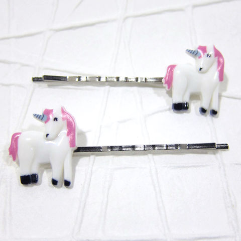 Unicorn,Bobby,Pins,White,and,Pink,Handmade,Hair,Accessories, Bobby Pin, Bobby Pins, Hair Accessories, Hair Slides, Handmade, Pony, Cute, Adorable, Celtique Creations