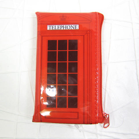 Red,UK,Telephone,Booth,Zippered,Vinyl,Pouch,Telephone Booth, UK Phone Booth, British Phone Booth, UK Telephone Stall, Zippered Pouch, Coin Purse, Coin Pouch, Zippered Purse, Vinyl Pouch, Telephone, Red, Celtique Creations