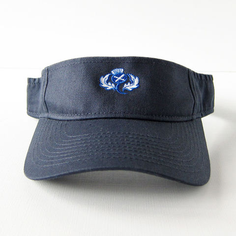 Scottish,Visor,Navy,Twill,with,Saltire,Thistle, Scotland, Visor, Hat, Thistle, Saltire, St. Andrew's Cross, Scottish Flag, Sun, Summer, Spring, Shade, Cotton Twill, Navy, Celtique Creations