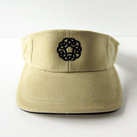 Celtic,Knot,Khaki,Twill,Visor, Knot, Knotwork, Circle Knot, Visor, Hat, Shade, Spring, Summer, Twill, Cotton, Celtique Creations