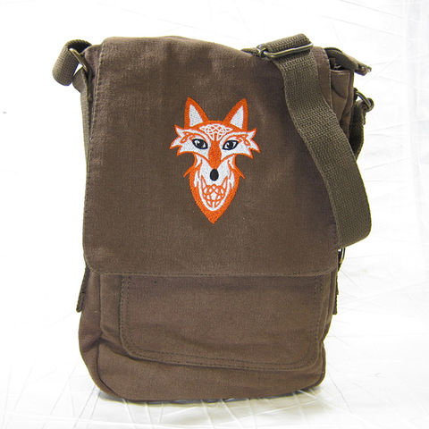 Celtic,Fox,Vertical,Messenger,Tech,Bag, Celtic Fox, Celtic, Celtic Knot, Knotwork, Knot, Tech Bag, Vertical Messenger, Messenger, Bag, Cotton Canvas, Brown, Embroidered, Celtique Creations