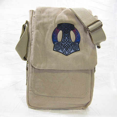 Mjolnir,Thor's,Hammer,Vertical,Messenger,Tech,Bag,Thor, Hammer, Mjolnir, mythology, Norse, Viking, Messenger, Vertical, Bag, Tech bag, padded, cotton, canvas, embroidered, khaki, Celtique Creations